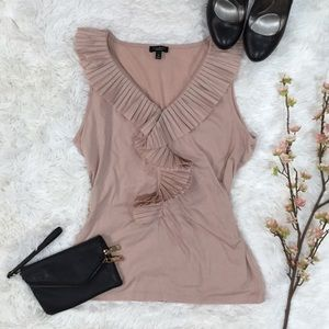 Talbots Folded Ruffle Tank Blouse in Nude Peach